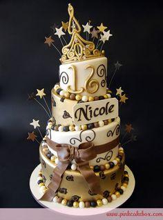 Topsy Turvy Gold Tiara Sweet 16 Cake