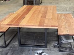 Recycled Tasmanian Oak Industrial Dining Table With Black Metal Legs and bench seats Timber Dining Table, Dining Room Bench, Dining Tables, Industrial Dining, Industrial Furniture, Table With Bench Seat, Recycled Timber Furniture, Indoor Outdoor Furniture, Coffe Table