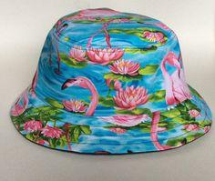 Handmade Flamingo Bucket Hat // Fishing Hat by TheWickedHouseWife