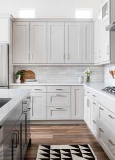 Choosing Grout for Cloé's White Subway Tile Grey Kitchen Cabinets, Kitchen Redo, Kitchen Tiles, Home Decor Kitchen, Kitchen Interior, New Kitchen, Home Kitchens, Kitchen Remodel, White Cabinets
