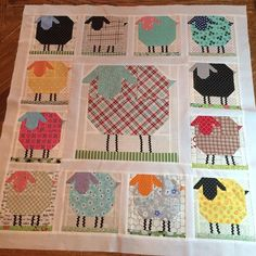 The Sheepies Patchwork Wallhanging! Cute Quilts, Small Quilts, Mini Quilts, Baby Quilts, Children's Quilts, Quilting Projects, Quilting Designs, Diy Quilt, Quilt Inspiration