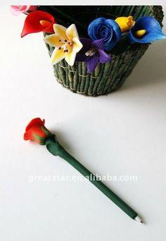 promotion flower rose pen /polymer clay ball pen,Little rose pen,craft pen,handmade/ceramic ball pen