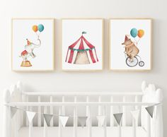 PRINTABLE Circus Friends Trio Art Print set & included) / Printable / Kids Room Decor/ Kids Wall Art / Nursery Wall Art by groovygoose on Etsy Monkey Nursery, Baby Girl Nursery Decor, Kids Room Wall Art, Nursery Wall Art, Bedroom Wall, Nursery Pictures, Art For Kids, Art Prints, Rainbow Wall