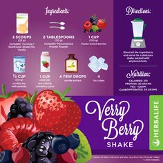 Verry Berry Shake Recipe If you want a quick, delicious meal, you'll get them when you reach for an Herbalife Formula 1 shake. You can get your formula 1 at herbal1shop.com. I hope you enjoy it *Know you can substitute the nonfat milk for silk, organic, almond, lactose free, or milk powder. If you prefer fresh fruits instead frozen fruits you could use the fresh fruits what I would do is cut them with anticipation and froze them for few hours so they can be frozen all the way through.