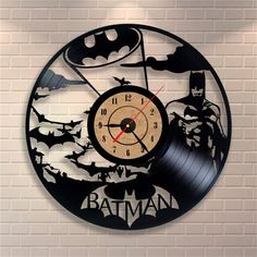 Black Classic Old Vinyl Record Concept Wall Clock Batman Theme Antique Retro CD Vinyl Clocks Quartz mechanism horloge murale payment take 2-5 days to process shiping and delivery between 10-18 days
