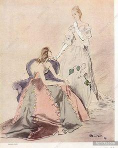 Jacques Fath & Carven 1947 Chantal de Ligonnès, Myriam de Lesseps
