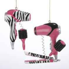 Zebra+Print+Christmas+Decorations | 12 Tween Christmas Pink and Zebra Blow Dryer Ornaments | eBay