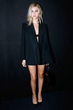 Nicola Peltz wears a Balenciaga blazer, bralette, and shorts to Balenciaga #SS15 show. // #PFW