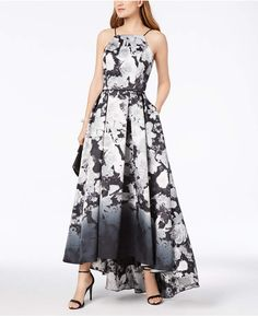 24ab5431f2a Betsy   Adam Printed High-Low Halter Gown