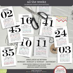 All the Weeks - Calendar Cards [2016]