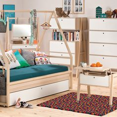 Vox Spot Chest of Four Drawers in Acacia & White Playground Swings, Scandi Style, Top Drawer, Solid Pine, Wow Products, Acacia, Wooden Frames, Storage Solutions, Bunk Beds