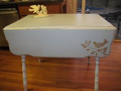 drop leaf table, painted in duck egg blue