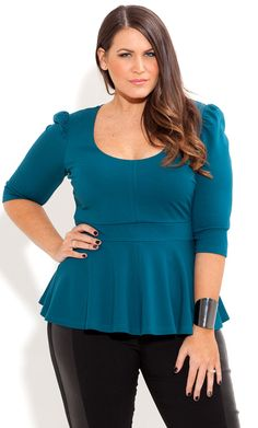 City Chic - ¾ SLEEVE PEPLUM TOP - Women's plus size fashion