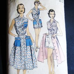 50's 1950's Playsuit Set Vintage Pattern Advance 7049 Three Piece Separates Cuffed Shorts Blouse Full Skirt Bust 34