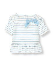 Girls Tops, Toddler Girls Sweaters, Designer Girls Shirts Sale at Janie and Jack- Striped Bow Peplum Top