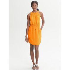 Banana Republic Drawstring Halter Dress - New orange $98
