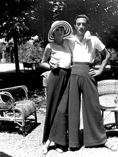 Salvador and Gala Dalí in giant 1930's pants