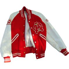 1950's High School Football Players Letterman Jacket ❤ liked on Polyvore featuring outerwear, jackets, varsity jacket, varsity-style bomber jacket, leather sleeve wool jacket, leather-sleeve jackets and red letterman jacket
