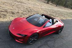 Tesla Roadster (2020) : 3/4 avant gauche de haut rouge