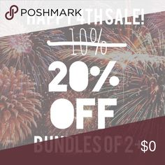 Extra bundle savings from now until Monday! Bundle 2 or more items and receive 20% off your total purchase! (Normally 10% off) now thru Monday. Happy 4th! Other