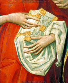 Detail from The Visitation, c. 1480-1490 - that looks impractically large for a girdle book.