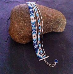 Multirows cuff bracelet Aztec blue turquoise par TDFTheDreamFactory