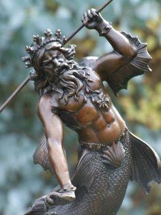 NEPTUNE ROMAN GOD OF THE SEA 100% PURE HOTCAST SIGNED  BRONZE STATUE