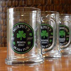 Personalized Irish Pub Beer Mugs (Set of 4) at Wine Enthusiast - $49.95