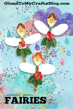 Wooden Spoon Fairies – Kid Craft - Spring Themed Tutorial - Pretend Play Pieces - Imaginative Play Puppets - Open Invitation To Play - Craft Spoon Fairy Kids Art Project Summer Crafts For Kids, Art For Kids, Kid Art, Craft Activities, Preschool Crafts, Preschool Classroom, Craft Stick Crafts, Fun Crafts, Plate Crafts