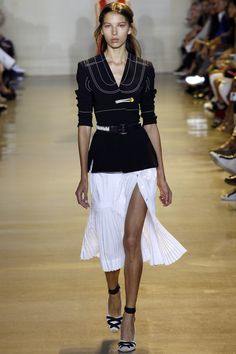 Black Jacket and White Skirt by Altuzarra Spring 2016 Ready-to-Wear Fashion Show - Louise Lefebure