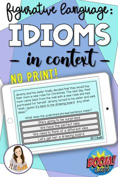 This Boom Cards deck Includes a mini lesson 40 practice items to help students identify the meaning of idioms in context! It's no print and no prep, so you can just pull it up on your ipad, computer, or teletherapy platform and use it when you need to! Speech Therapy Activities, Speech Language Pathology, Language Activities, Speech And Language, Figurative Language, Idioms, Teaching Reading, Therapy Ideas, Play Therapy
