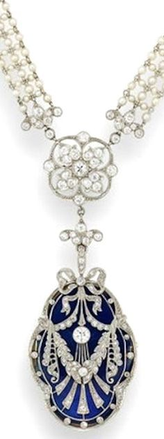 A belle époque diamond, seed pearl & enamel sautoir, c, 1910. The woven seed pearl necklace linked by three openwork quatrefoil plaques of foliate design set with old brilliant-cut diamonds, suspending a locket with ribbon & garland decoration pierced & millegrain-set with old brilliant & single-cut diamonds, over an interchangeable guilloché enamel panel, the reverse with engraved monogram within an undulated surround, blue, green, white and pink panels provided.
