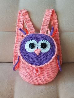Crochet owl backpack Gift for girl Colorful crochet bag Handmade Baby shower…
