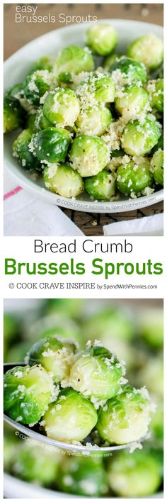 Easy Bread Crumb Brussels Sprouts – Spend With Pennies Easy Bread Crumb Brussels Sprouts. Sometimes simple is best. this is definitely my favorite turkey dinner side and a yummy way to enjoy Brussels Sprouts! Side Dish Recipes, Lunch Recipes, Vegetable Recipes, Vegetarian Recipes, Cooking Recipes, Healthy Recipes, Meal Recipes, Best Side Dishes, Vegetable Side Dishes