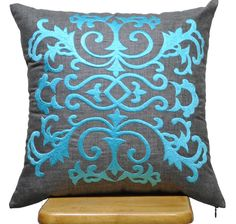 Blue+Damask+Pillow+Cover+Ash+Grey+Pillow+Blue+Damask+by+KainKain,+$23.00