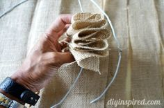 How to make a burlap wreath with a wire hanger.