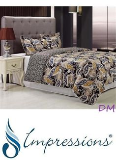 Duvet Covers and Sets 37644: 3-Pc Full Queen Midnight Black W Blue And Yellow Paisley Print Duvet Cover Set -> BUY IT NOW ONLY: $87.95 on eBay!