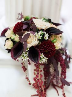 Gorgeous bouquet of dark mini calla lily, ivory roses, marsala dahlias, burgundy hanging amaranthus and more! Marsala And Gold Wedding, Burgundy Wedding, Red Wedding, Art Deco Wedding, Floral Wedding, Wedding Colors, Wedding Flowers, Elegant Wedding, Wax Flowers