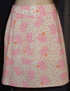 The VG equivalent of 11: VTG 70'S SZ 6 VESTED GENTRESS DRUNK PINK ELEPHANTS MARTINI GLASSES GOLF SKIRT
