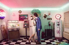 Ceremony at Viva Las Vegas Weddings' 50's Style Doo Wop Diner Chapel