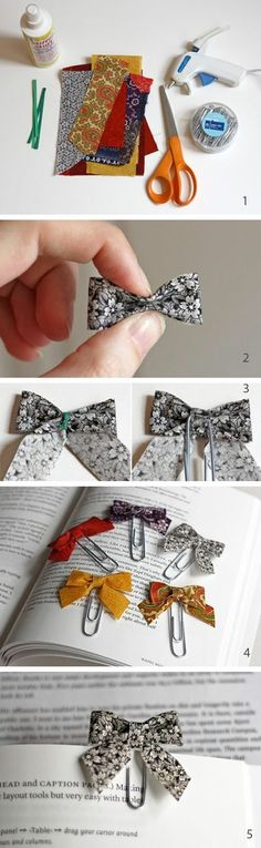 Homemade bow bookmarks