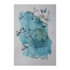 Original Drawing Fishes with colored Ink and Bambu-Stick - free shiping 1181 x 827 inch blue (27.00 EUR) by Kunstmuellerei