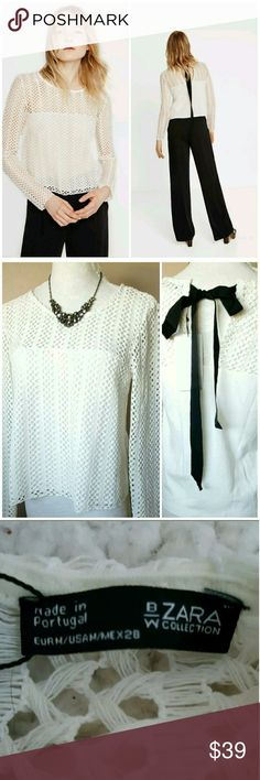 """NWT ZARA CROCHET KNIT TOP BRAND NEW WITH TAGS ZARA LONG SLEEVE KNIT CROCHET LONG SLEEVE TOP SIZE MEDIUM COLOR IVORY  WITH BLACK RIBBON AT THE BACK 50% COTTON, 50% MODAL LENGTH 22"""" ARMPIT ACROSS 17.5"""" Zara Tops Blouses"""