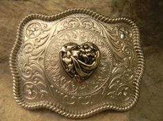 Silver Hearts and Flowers Belt Buckle
