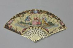 """Folding fan with painting of """"Rinaldo and Armida"""", c. 1730. Paper sheet painted with gouache and gold, ivory frame painted and gilded."""