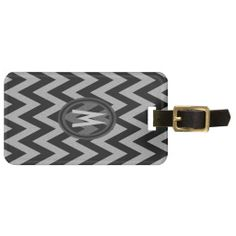 Chevron Black and Silver Glitter Pattern Bag Tag
