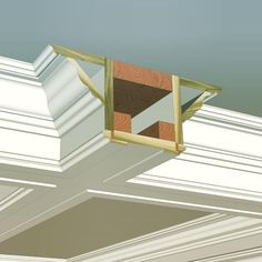 Here is the cross section detail of the coffered ceiling build-up we just posted. Obviously this may be slightly modified to meet your needs, but hope… – Ceiling Decorations Ceiling Trim, Ceiling Design, Interior Trim, Interior Design, Trim Carpentry, Moldings And Trim, Moulding, Crown Molding, Basement Bedrooms