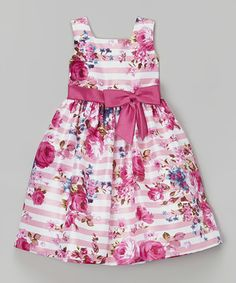 Pink Floral Stripe Shantung Dress - Toddler & Girls
