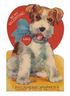 Wire Fox Terrier sweet Valentine  vintage greeting card ♥..♥