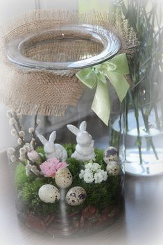 ... Christmas Arrangements, Christmas Decorations, Easter Crafts For Toddlers, Easter Tree, Spring Projects, Hoppy Easter, Miniature Fairy Gardens, Easter Party, Deco Table